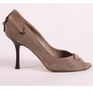 DIOR peep toe suede pumps taupe gray size 38 8